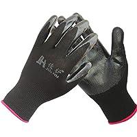 Hongyan Gloves Guantes de Nitrilo de Nylon, Durable a Prueba de Aceite Seguro de Trabajo Antideslizante Bañado Guantes de Protección Corto Negro (12 Pares de Embalaje)