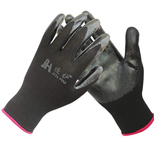 Car cover Nylon-Nitril-Handschuhe, langlebig Öl-Beweis Anti-Rutsch-Arbeits-Versicherung getaucht Schutzhandschuhe kurz schwarz (12 Paar Verpackung) Kurze Schwarze Nylon-handschuhe