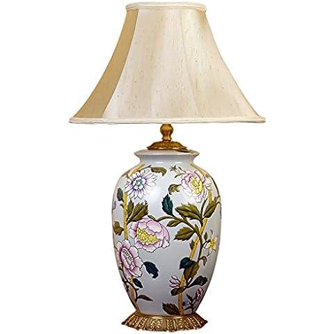 Guo Con incrustaciones de cobre de lujo American lámpara de la sala decorativa Lámpara de cerámica del Estudio Lámparas