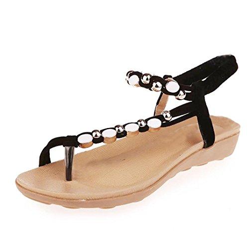 Sapatos Lazer Rcool Rasos Sandálias Mulheres Bohemia Pérola Preto wvqvHC