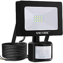 Projecteur LED détecteur de mouvement MEIKEE, 10W 1000LM 6500K spot led exterieur avec detecteur IP66 lampe de sécurité idéal pour éclairage public, garage, couloir, jardin, etc