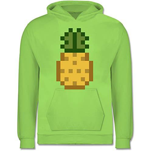 Shirtracer Karneval & Fasching Kinder - Pixel Ananas - Karneval Kostüm - 9-11 Jahre (140) - Limonengrün - JH001K - Kinder Hoodie (Kostüm-ideen Mädchen College Für)