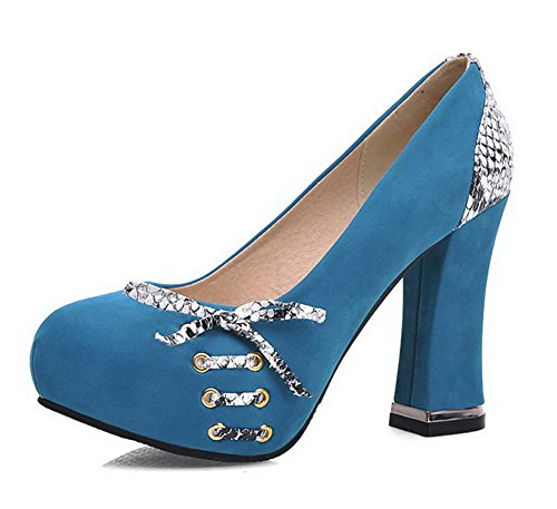 voguezone009-womens-pull-on-round-closed-toe-high-heels-blend-materials-pumps-shoes-blue-33