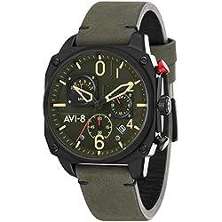 AVI-8 Hawker Hunter Reloj de Hombre Cuarzo 45mm Correa de Cuero AV-4052-08