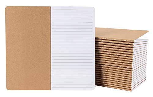 Notizhefte mit Kraftpapier-Cover von Paper Junkie (Set, 24 Stück) - Liniert, Leicht und Handlich - Ideal als Reisetagebuch, für Skizzen, Kreatives Schreiben - 40 Blatt, Braun, 10,9 cm x 20,8 cm