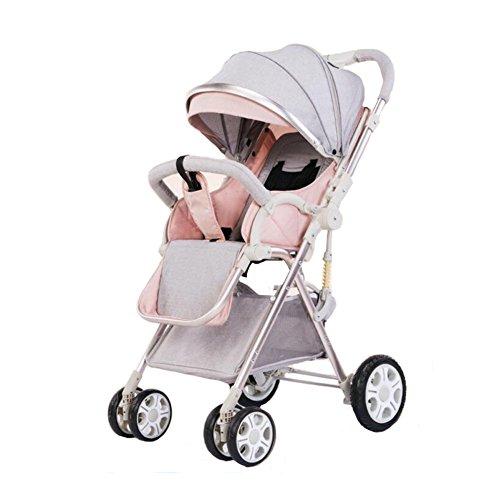 YXINY Kombikinderwagen Säugling Zwei-Wege-Wagen Einfaches Falten Stoßfest 1-3 Jahre Alt Kleiner Babykinderhanddruckregenschirm Baby Buggy (Farbe : Pink)
