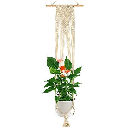 YANGMAN Plante macramé Hanger, Usine de Fleur Manique Corde de Coton Suspendu Planteur Panier, avec 30 cm de bâton en Bois, pour intérieur, extérieur, décoration, 120 cm,1pcs