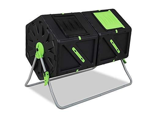 Garden Point Doppel Trommelkomposter 2 x 105 l | Mit Belüftungsöffnungen | Aus Polypropylen und Edelstahl | Für den ganzjährigen Gebrauch | UV-Schutz |...
