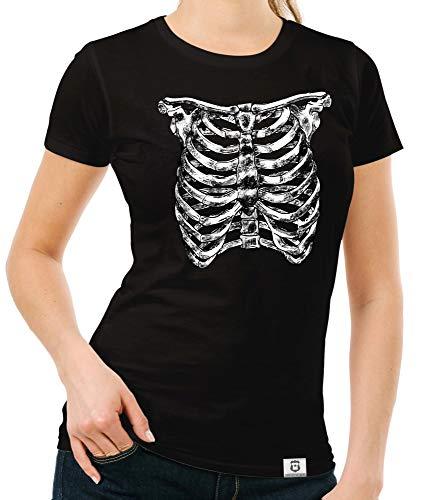 Shirtdepartment - Damen T-Shirt - Skelett Brustkorb schwarz-Weiss M