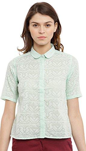 Chumbak Burn Out Mint Crop Shirt