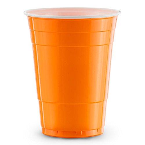 Orange Gobelets Américains 100 x Blue Cups - Party Beer Pong Original 50cl - Grand jetables Verres en plastique 16oz - Plusieurs couleurs | College & anniversaire tasses - Red Celebration