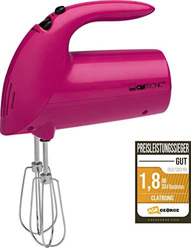 Clatronic Handmixer HM 3014 /// Edelstahlquirle & -knethaken /// 5 Geschwindigkeitsstufen /// Zubehörteile spülmaschinengeeignet /// 250 Watt /// Brombeere