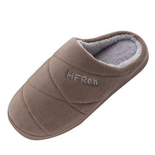 Posional Zapatillas de casa Espuma de Memoria de Alta Densidad Cálido Interior Lana al Aire Libre Forro de Felpa Suela Antideslizante Zapatos,Modelos de Pareja para Hombres y Mujeres