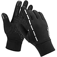 Kungber Cycling Gloves, Outdoor Sport Windproof Waterproof Thermal Gloves with Anti-Slip Silicone, Winter Running Bike Gloves Touch Screen Gloves for Men Women