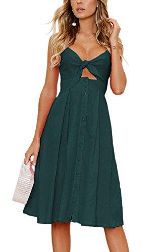 ECOWISH Damen V Ausschnitt A-Linie Kleid Träger Rückenfreies Kleider Sommerkleider Strandkleider Knielang Cyanblau XL