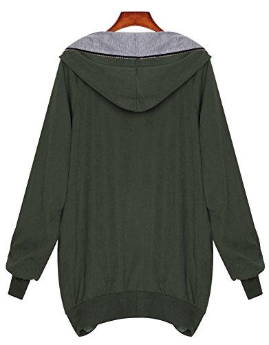 Zarlena Damen Full Zipper Jacke Hoodie Oversized Parka Kapuzenjacke in mehreren Farben und Größen Petrolgrün