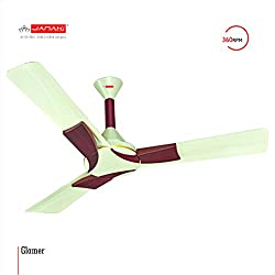 JANAKI GLAMER 1200mm Sweep 60-Watt Ceiling Fan (Ivory,Pack of 2)
