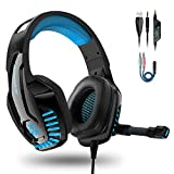 IGROME PS4 Headset, PC Gaming Kopfhörer auch für Xbox One & Nintendo Switch & Laptop, Bass Surround, mit Rauschunterdrückungsmikrofon, LED Licht, 3,5-mm Jack (mit 2 in 1-Adapter) (Blau)
