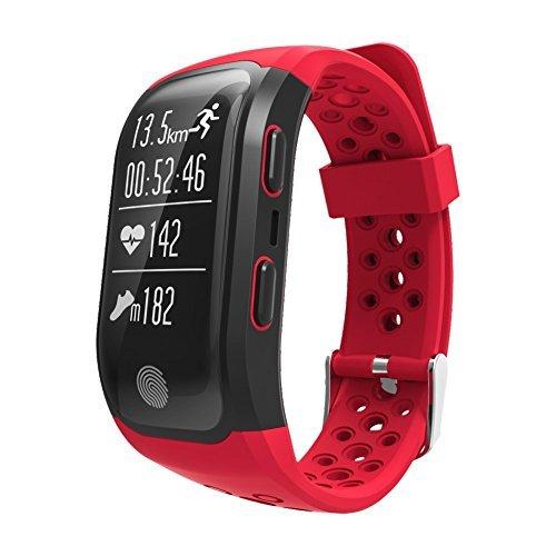 Smart band activity tracker S908 con GPS waterproof IP68 cardiofrequenzimetro (nuoto, ciclismo, running, climb, wailking) orologio red