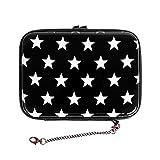 Hartschalen Portemonnaie Tasche Handtasche Geldbörse Handycover Sterne Schwarz