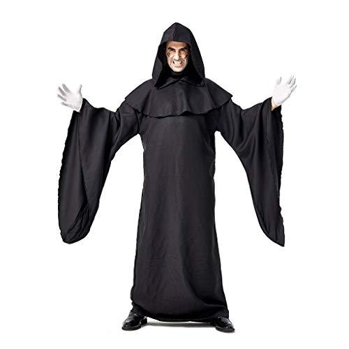 AmyGline Halloween Kostüm Herren Retro Punk Robe mit Kapuze Karneval Show Cosplay Kostüm Schwarz Steampunk Langes Kleid (Schwarze Witwe Baby Kostüm)