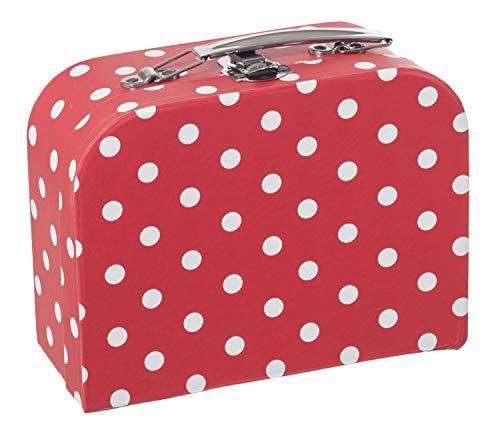 Bieco Kinderkoffer mit Dots Motiv, Koffer aus Pappe, Metall Tragegriff, Köfferchen für Kinder, Kindergepäck, 21x30 cm, rot, 04003029