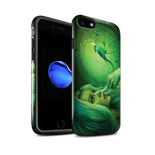 Officiel Elena Dudina Coque / Brillant Robuste Antichoc Etui pour Apple iPhone 8 / Carte Postale/Ruban Design / Les Oiseaux Collection Oiseaux Libres/Vitrail