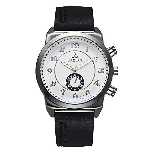 LABIUO Uhren für Männer, Mode Analog Quarz Blue Ray Glass Dial Lässige Armbanduhr mit PU-Lederband(E,Einheitsgröße)