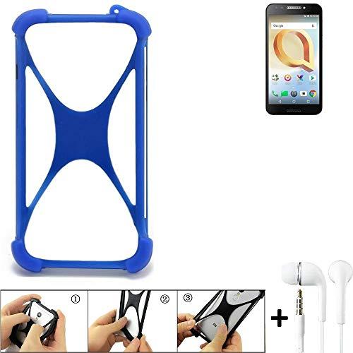 K-S-Trade Handyhülle für Alcatel A30 Plus Bumper Schutzhülle Silikon Schutz Hülle Cover Case Silikoncase Silikonbumper TPU Softcase Smartphone, Blau (1x), Headphones