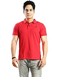 Basilio Men's SuperFine Cotton Fabric Polo Neck Solid T-Shirt-L