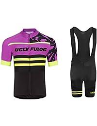 Uglyfrog Ciclismo Maillot Hombres Jersey y Pantalones Cortos bib Mangas Cortas de Ciclismo Ropa Maillot Transpirable para Deportes al aire libre Ciclo Bicicleta DXMZ06