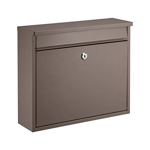 Mari home cassetta postale a muro a4 | cassetta rettangolare, acciaio, per esterno | cassetta esterno con serratura e 2 chiavi | dim. 36 x 31.5 x 11.5 cm | fessura frontale 33.5 x 3.5 cm | grigio