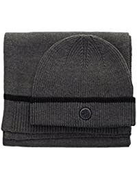 Grey Pretty Green Gift Set Ribbed Beanie and Scarf Collection