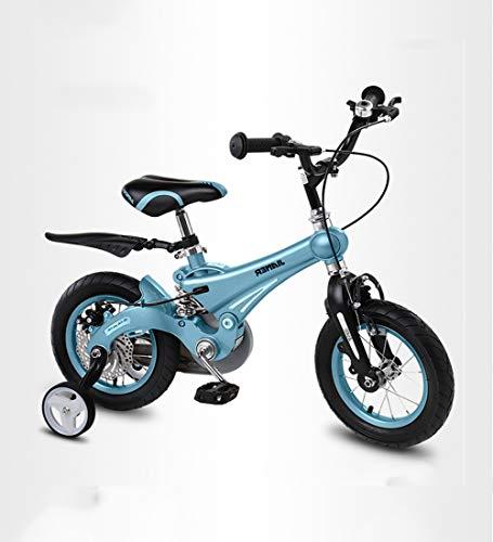 SXMXO 2-12 Jahre Sehr leichtes Kinderfahrrad, Kinderfahrräder 12/14/16 Zoll Laufrad Junge Mädchen Blue mit Stützräder und Rücktritt Scheibenbremse aus Magnesiumlegierung,14Zoll