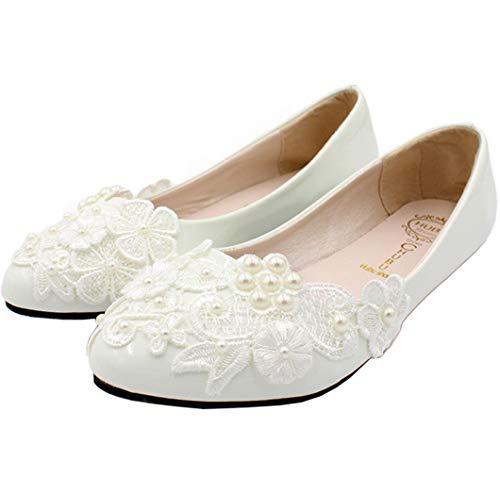 Seraph bh127 scarpe da sposa da donna con fiore in pizzo e punta piatta per le scarpe da sposa bianche,white,40eu
