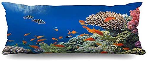 GFGKKGJFF0821 Aquatische Barriere, Tropische Fische auf Korallenriff, ägyptische rote Natur, tolles australisches Andaman Aqua Aquarium, 50,8 x 137,2 cm, Halloween Mädchen -