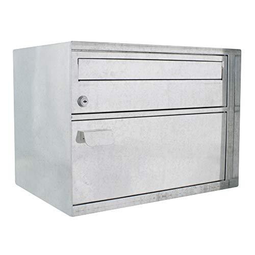 HomeDesign Briefkasten HDM-410-Verzinkt, Zylinderschloss, Stahlpostkasten, Pakete, Schnappverschluss