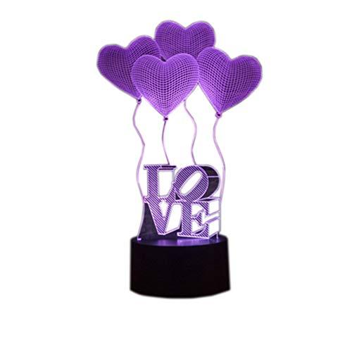 YKMY Liebe Ballon 3D Illusion Lampe LED Nachtlicht, USB Powered 7 Farben Blinkt Berührungsschalter Nachtlicht, Schlafzimmer Dekoration Beleuchtung für Neuheit Weihnachten Geburtstagsgeschenk