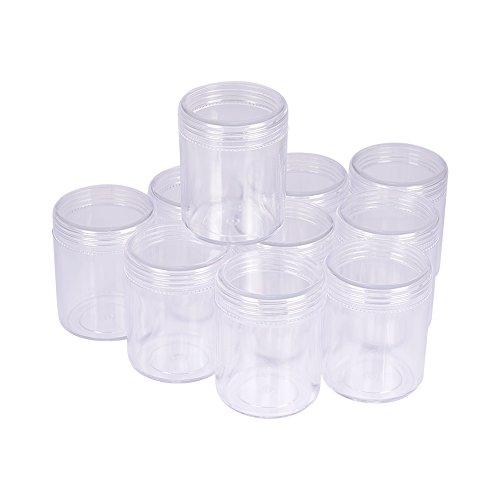 PandaHall 10 Stück 39x50mm Rund Kunststoff Leere Perlendosen Sortierdosen Sortierbox Aufbewahrungsbox für Acrylpulver Strass Anhänger und Andere Nail Zubehör Transparent -