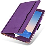 iPad Air Case - The Original Purple & Tan Leather Smart Cover for iPad Air and Air 2 2013 2014 (5th and 6th Gen)