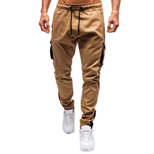 Xmiral Hose Einfarbige Lässige Cargohose für Herren mit Mehreren Taschen Sport Hosen Training Shorts Fitness Freizeit(Khaki,XL)