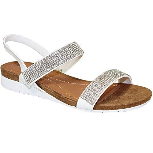 Fantasia Boutique jlh706 Adelaide femmes Diamant fermeture arrière confortable plat Sandales mode Blanc