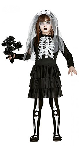 shoperama Monster Bride Kostüm für Mädchen Skelett Braut Kinderkostüm Teenager Kind Halloween, Kindergröße: 134 - 7 bis 9 ()