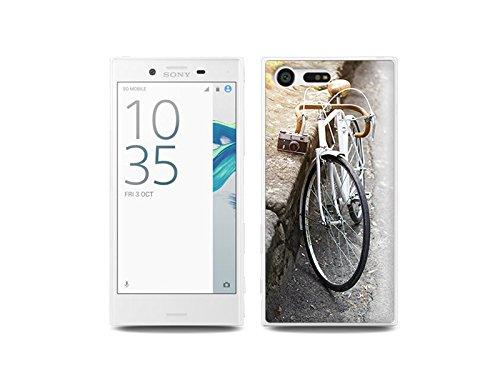 etuo Sony Xperia X Compact - Hülle Foto Case - Retro Fahrrad - Handyhülle Schutzhülle Etui Case Cover Tasche für Handy