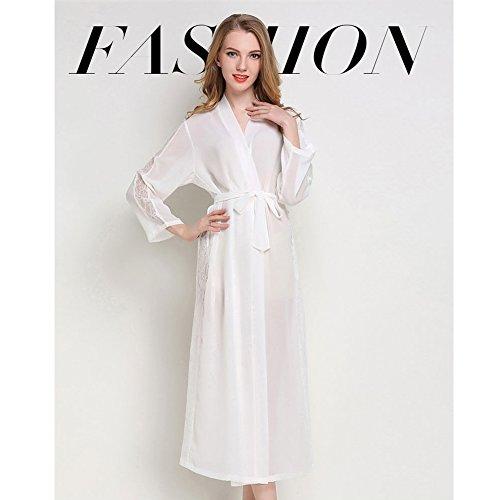(no brand) Robe pigiama accappatoio sexy prospettiva Long Beach Wear manica lunga primavera e l' estate vestiti Appeal (Parallel input), Chiffon, Champagne, Formato libero White