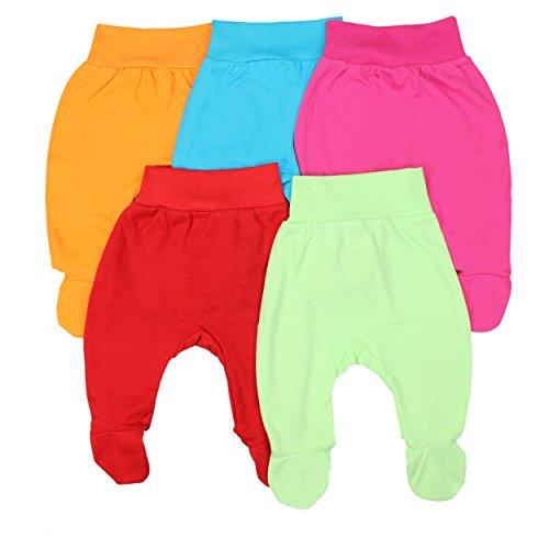 Babyhose mit Fuß Stramplerhose Jungen Baby Hose Strampelhose Mädchen im 5er Pack, Farbe: Mädchen, Größe: 80