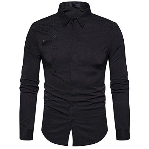 """Chemise Oxford Casual Ajustée Homme Manches Longues,OverDose Automne Hiver Costume Blouse Habillée Skinny Top Shirt TAILLES & COUPES Size:S Bust:98cm/38.58"""" Shoulder:40cm/15.75"""" Sleeve:63cm/24.80"""" Length:75cm/30.0"""" Size:M Bust:102cm/40.09"""" Sho..."""