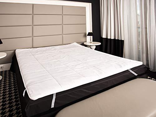 Mayaadi-Home Matratzenauflage Baumwolle befüllt mit 100{f09194314351183f77a7a81a1b1d14dcc55a8cdeac6ba115a947ad1af100b039} Merino-Schafschurwolle Natur-Topper 200x200cm Weiß
