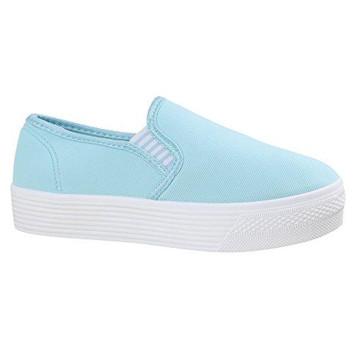 Damen Sneaker Slip-Ons Slipper Blumen Dandy Flats Plateau Flache Plateau Damen Sneakers Stoff Schuhe 137808 Himmelblau 38 Flandell