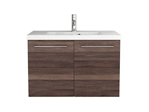 Waschtischunterschrank 50 / 80 Cm Breit Eiche Trüffel Und Weiß  Waschbeckenunterschrank Unterschrank Badmöbel Set Hängend